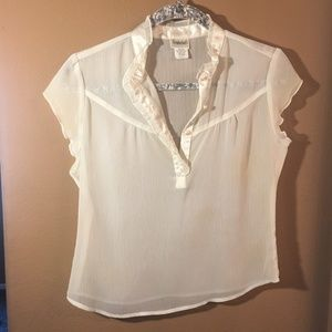 Frederick's of Hollywood Cream Sheer Top